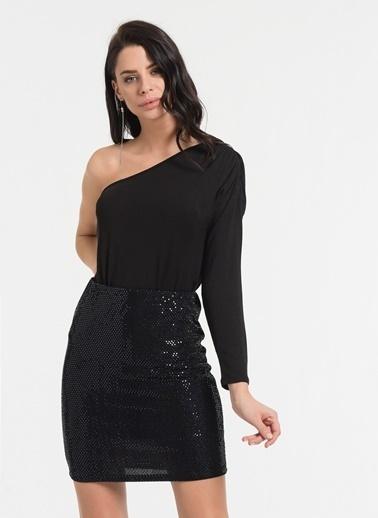 Styletag Pul Görünümlü Etek Siyah